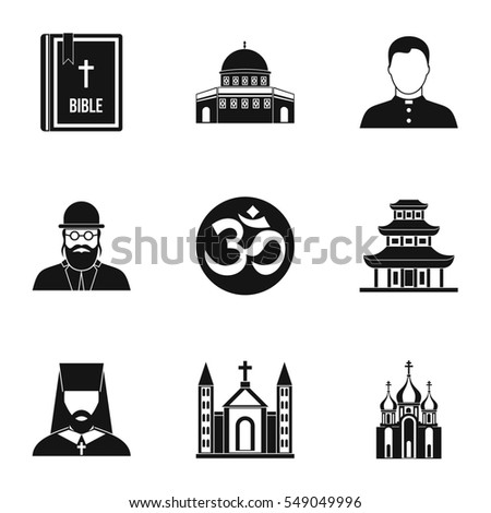 Religion icons set. Simple illustration of 9 religion  icons for web