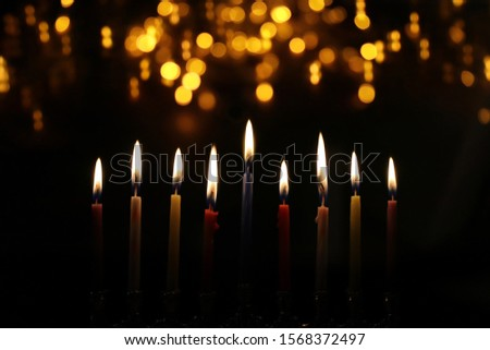 Religion image of jewish holiday Hanukkah background with menorah (traditional candelabra) and candles Stok fotoğraf ©