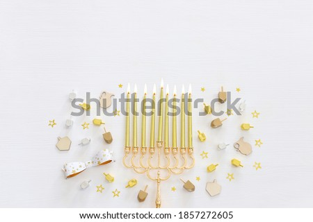 Religion image of jewish holiday Hanukkah background with menorah (traditional candelabra) and candles Сток-фото ©