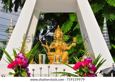 Religion, respect, religion Worship to bless Of the Buddhist people in Thailand.Collection of ash bones of the deceased in a stupa measured in accordance with the Buddhist belief. Shrine of Brahma .