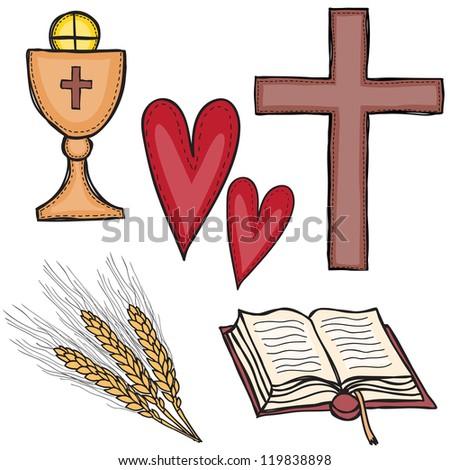 Religion - set of religious symbols - cross, chalice, heart, book and grain