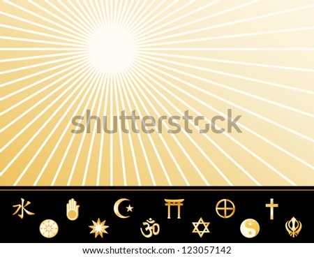 Religions of the World Poster, gold symbols: Hindu, Bahai, Islam, Shinto, Tao, Christian, Jain, Judaism, Native Spirituality, Buddhism, Confucianism, Sikh. Copy space on star burst background.