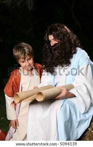 Religious biblical man teaching to a child.   Could be Jesus, disciple or a prophet, eg Elijah.