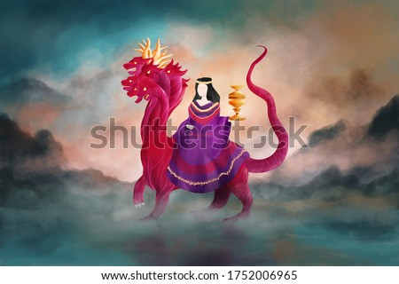 Religious imagery depiction of woman and scarlet beast of Revelation 17, New Testament book of the Bible. Digital illustration, background is my own painting Сток-фото ©