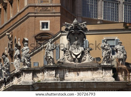Religious Statues Saint Peter's Basilica Vatican Rome Italy Outside in