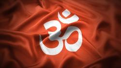 religious symbols of hinduism. close up waving flag of hinduism.
