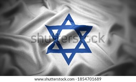 religious symbols of judaism. close up waving flag of judaism. Foto stock ©