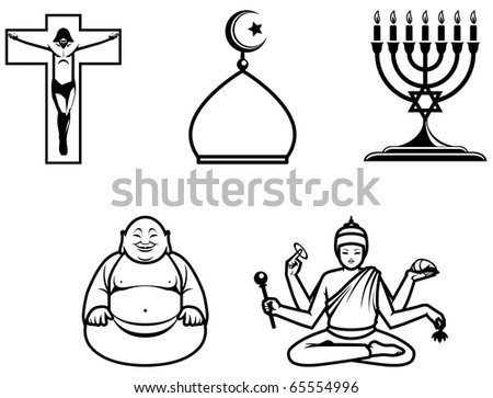 Religious symbols of 5 main world religions.