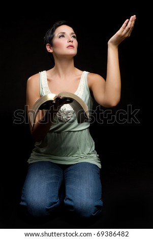 Religious woman reading christian bible