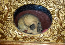 Reliquary containing a Catholic relic in the form of a woman's skull. This is the physical remains of St. Martianne, a saint local to Albi. Albi Cathedral, France, Tarn department of Occitanie