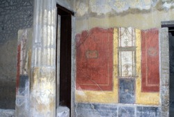 Remains of a fresco on a wall on a villa in the ruins of Pompeii, destroyed by Mount Vesuvius, in 79AD
