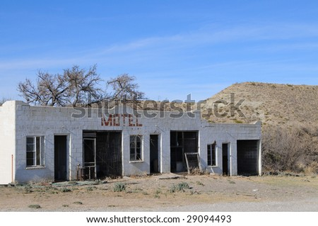 Remains of a motel on a rural desert road in Texas
