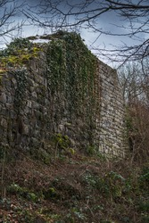 Remains of a overgrown ruined castle under dramatic sky in winter.