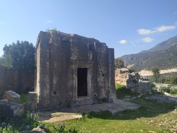 Remains of Akdam Dor Rock Sepulture in Antiphellos Ancient City. Kaş, Antalya. A monument is known, as the Akdam Doric Rock Tomb.