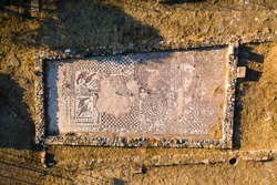 Remains of an ancient Byzantine (4-5th century) mosaic floor and basillica from an early Christian church at Olous, Crete, Greece