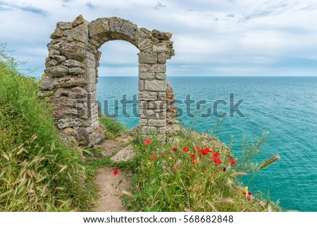 Remains of an old stronghold archway on the bulgarian coast at Cape Kaliakra