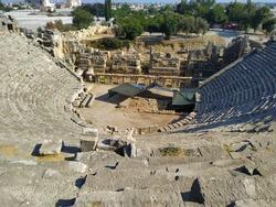 Remains of Ancient Amphitheatre in Myra Ancient City at location Demre, Antalya, Turkey