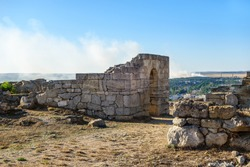 Remains of ancient buildings in Panticapaeum, antique city founded by Greeks. Located in centre of modern Kerch, Crimea