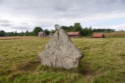 Remains of ancient burial grounds, older then famous Stonehenge in England. Burial grounds in Ekornavallen. Falköping district. Sweden. Europe.