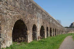 Remains of aqueducts system of Roman capital ,The Romans constructed aqueducts throughout their Republic to bring water from outside sources into cities and towns.and a few are still partly in use.