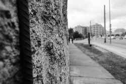 Remains of Berlin wall, detail of old concrete wall, Germany. Segments of wall left as a reminder of events leading up to the fall of the wall in November 1989
