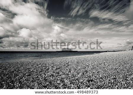 Remains of Brighton Pier left standing in sea, Brighton West Pier, England, UK #498489373
