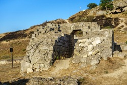 Remains of building in Panticapaeum, probably gate or passage. Antique city was founded by Greeks in VII BC. Located in modern Kerch, Crimea