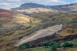 Remains of Noah's Ark with boat shaped rock formation at the spot near Mt Ararat where it is believed that the ark was rested in Dogubeyazit, Turkey