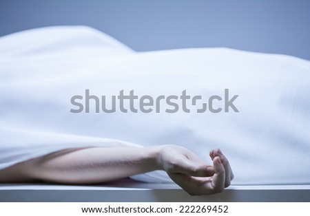 Remains of person in the morgue, horizontal Foto stock ©
