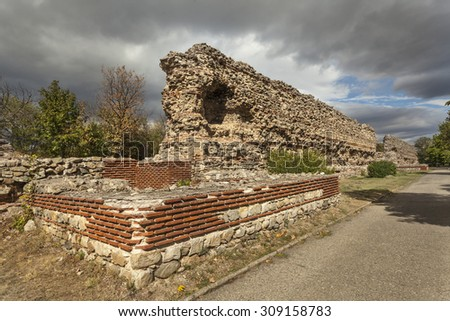 Remains of roman tower and defensive wall in Hisar (Diokletianopolis), Bulgaria #309158783