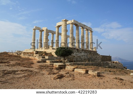 Remains of Temple of Poseidon near Athens, Greece