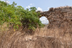 Remains of the old ruins of Kafarlet fortress. It was the property of the Lords of Caesarea, then became property of Hospitallers. Captured by Baybars in 1291. Near the Atlit city in northern Israel