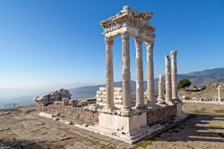 Remains of the roman Temple of Trajan in the ruins of the ancient city of Pergamum known also as Pergamon, Turkey.