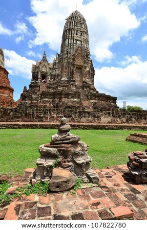 Remains of the temple and Pagoda at Ayutthya Province, Thailand