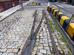 Remains of tram tracks in Manaus.  The tram was the first in Brazil, inaugurated in 1910 and closed in February 1957.