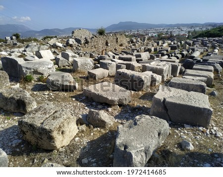Remains of Xanthos, ancient Lycian city in Turkey. UNESCO world heritage Foto stock ©