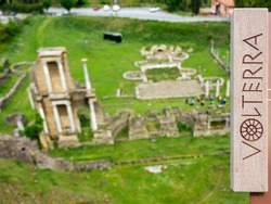Remains or ruins of ancient Roman Amphitheatre in Volterra, Pisa, Tuscany, Italy. Theaters were presenti in all roman cities in old age.