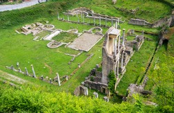 Remains or ruins of ancient Roman Amphitheatre in Volterra, Pisa, Tuscany, Italy. Theaters were presenti in all roman cities in old age