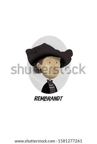 Rembrandt Portrait Children Illustration Digital art