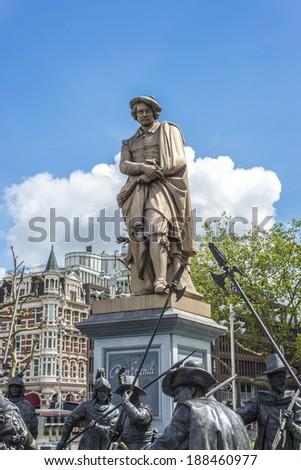 Rembrandt statue on Rembrandtplein (Rembrandt Square) both named