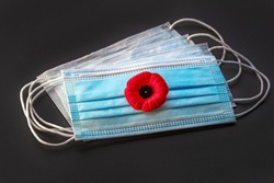 Remembrance Day Poppy Flower with facemask. Concept Remembrance Day during covid-19 pandemic