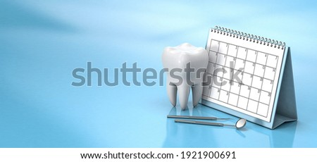Reminder calendar for visiting the dentist. Dental appointment, check. Calendar with a tooth and a dental mirror on a blue background. Copy space for text. 3d render.