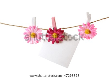 reminder note hanging on clothespin on clothesline - isolated on white background