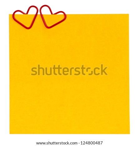 reminder paper and clip in the form of heart isolated on white background