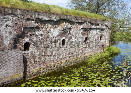 Remnant of an old fortress wall in the town of Geertruidenberg, Netherlands