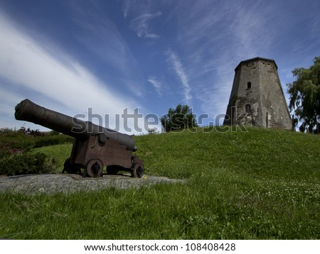 remnants of an old mill and a cannon in Sas van Gent in Netherlands