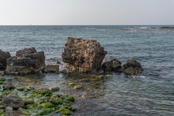 Remnants of the harbor at Caesarea National Park in Israel.