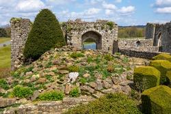 Remnants of the historic Leeds Castle in Kent, UK.