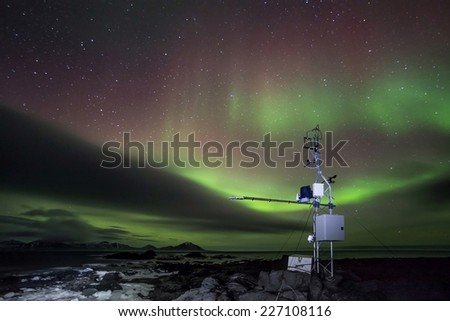 Remote automated weather science station and Aurora Borealis - Arctic, Spitsbergen