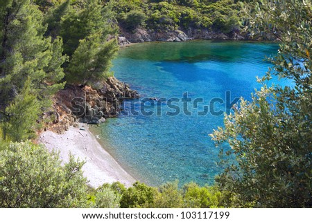 Remote beautiful beach at Sithonia of the Chalkidiki peninsula in Greece